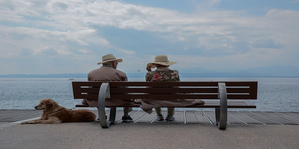 Elderly sitting on a bench