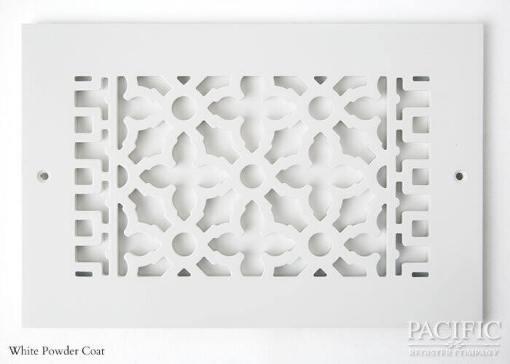 Cast Aluminum Vent Covers Victorian Pattern white