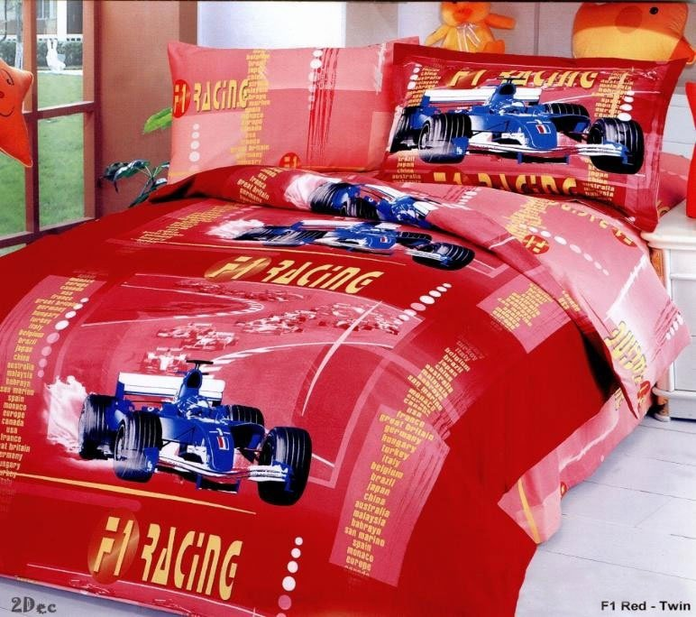 F1 Racing red duvet covers for kids  boys bedding sheet