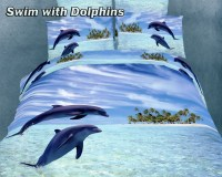 Swim with Dolphins by Dolce Mela, 4 PC's Twin Size Duvet ...