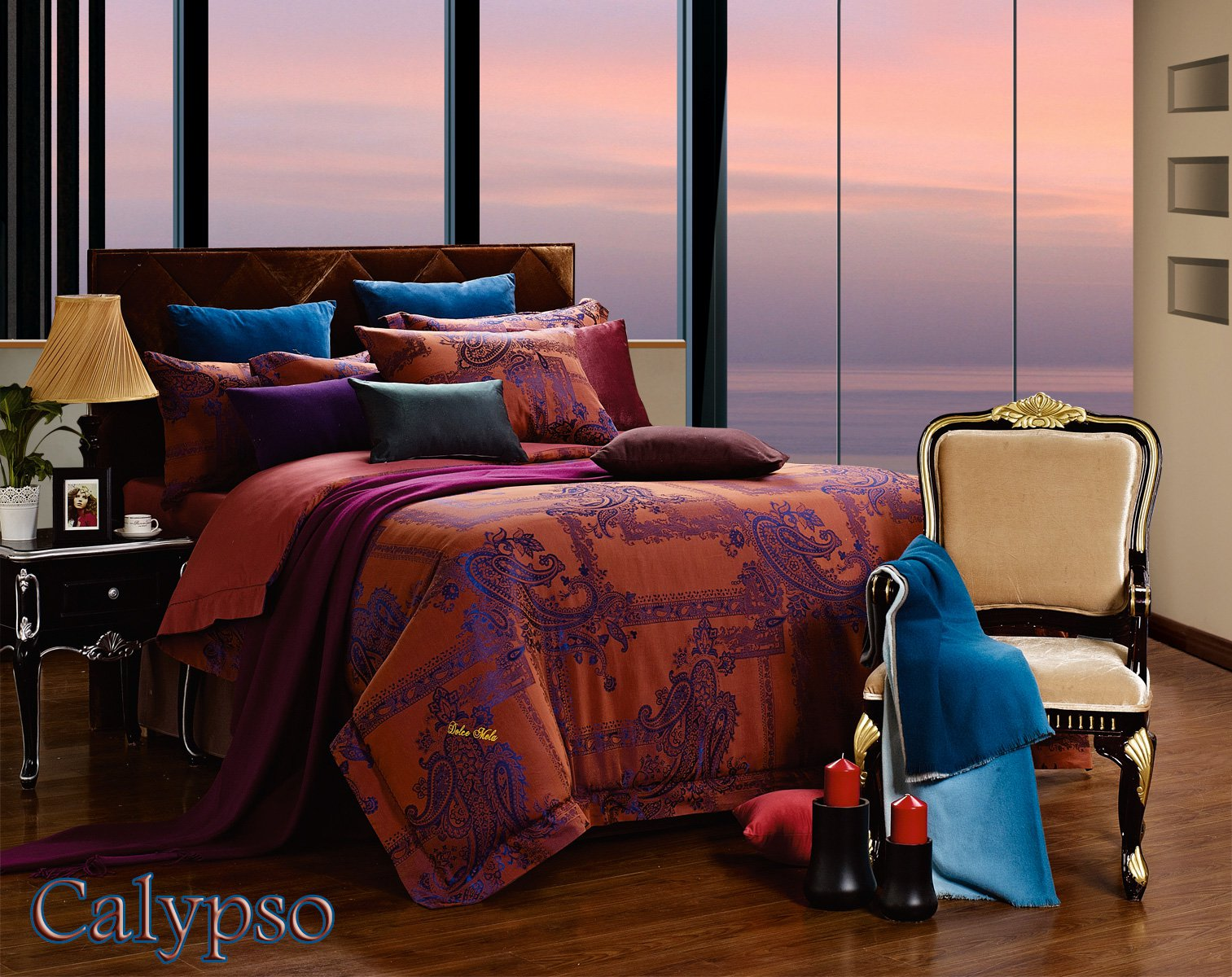 Calypso by Dolce Mela 6PC Queen Size Duvet Cover Set