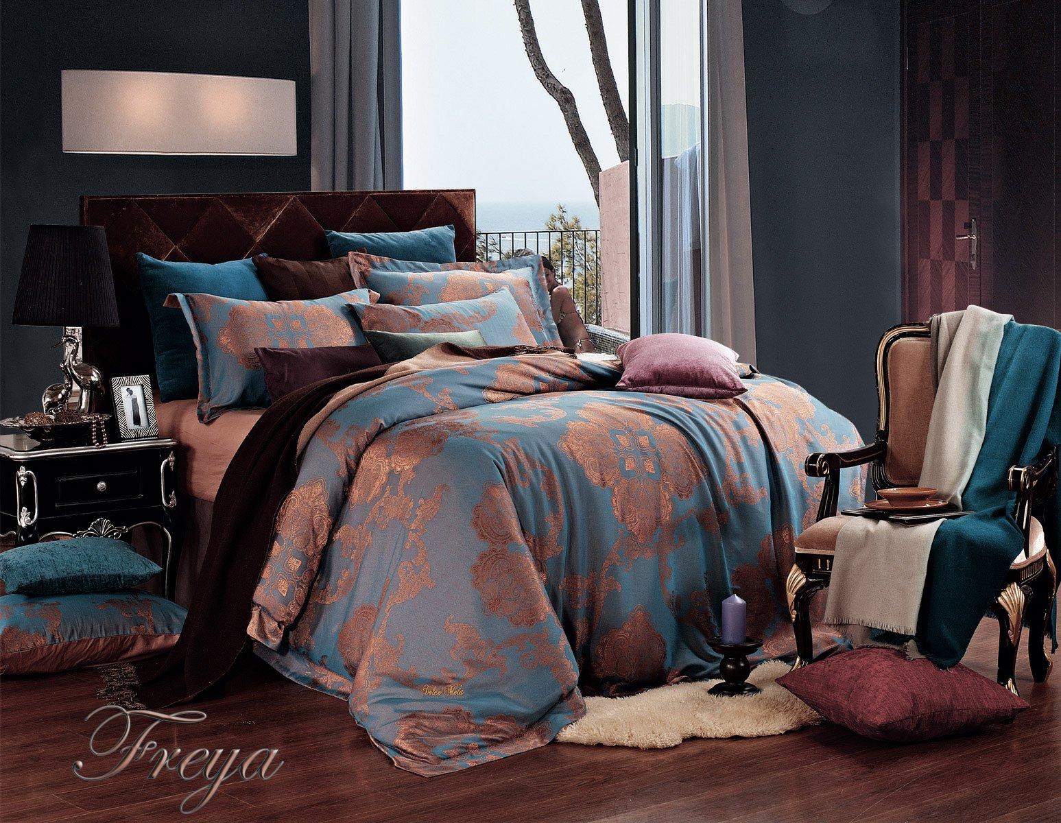 Freya by Dolce Mela 6PC King Size Duvet Cover Set Luxury Linen Bedding Set in Beautiful Gift Box