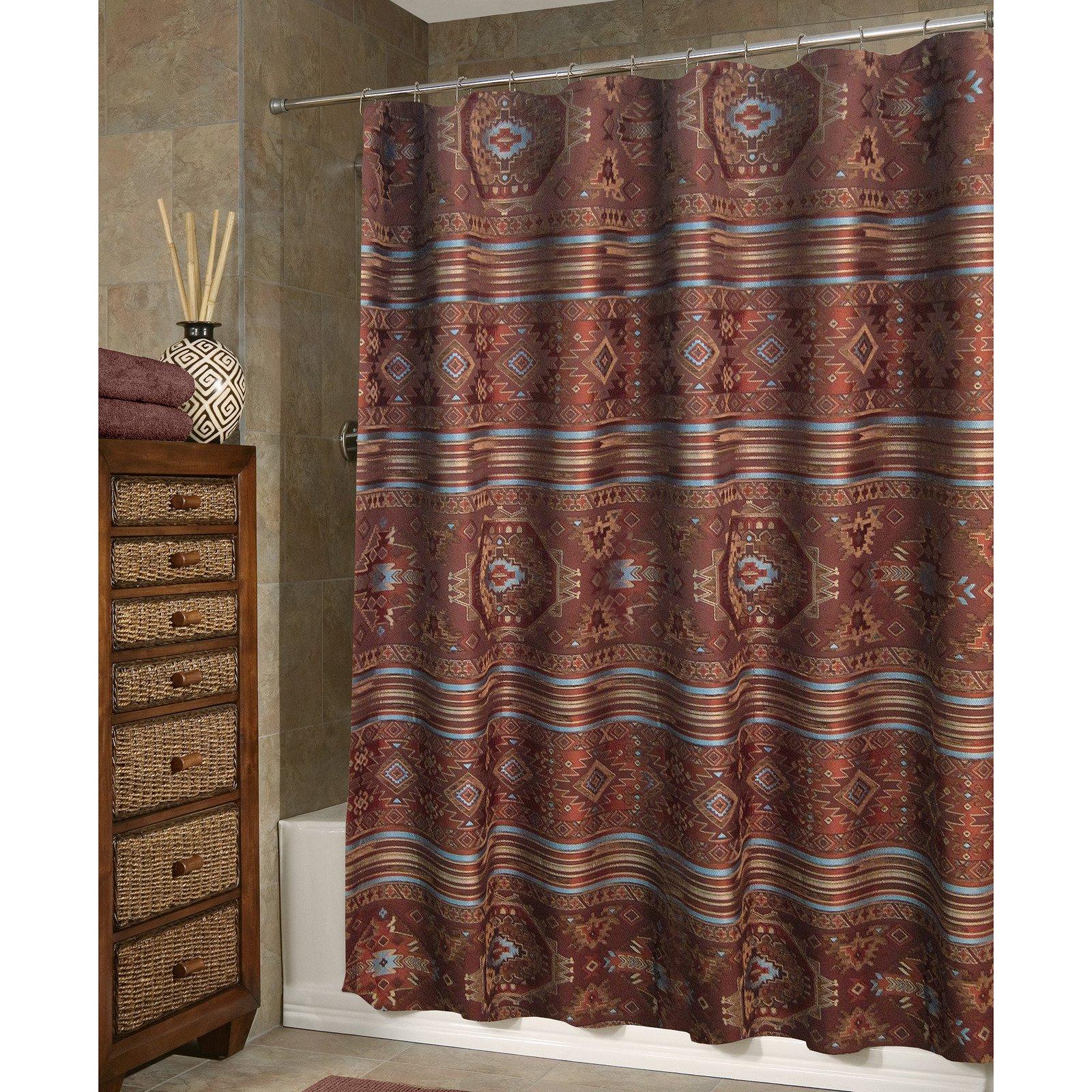 pueblo bath rust shower curtain