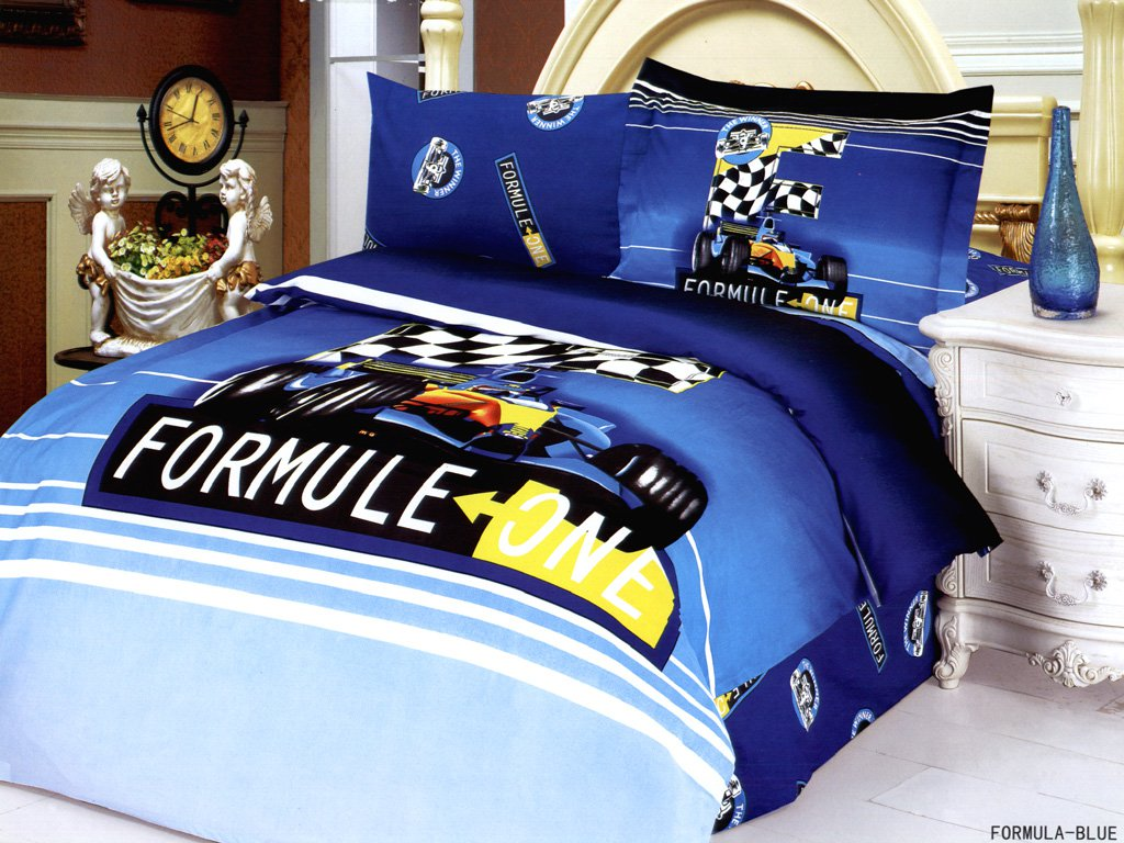 The Racing Car Boys Toddlers Kids Single Duvet Quilt Cover