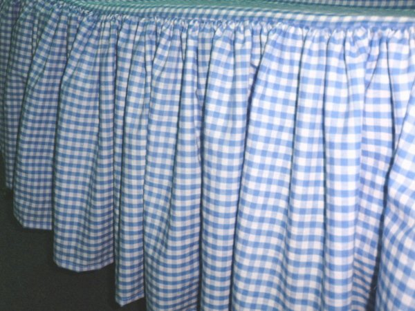 Blue Gingham Check Bedskirt in all sizes from twin to calking including crib and daybeds in