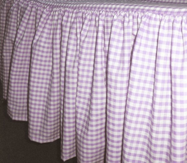 Light Purple Gingham Check Bedskirt in all sizes from twin to calking including crib and