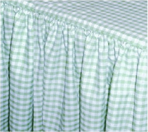 Mint Green Gingham Check Bedskirt in all sizes from twin