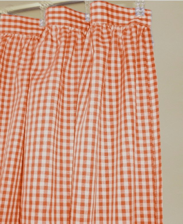 Orange Gingham Check Shower Curtain