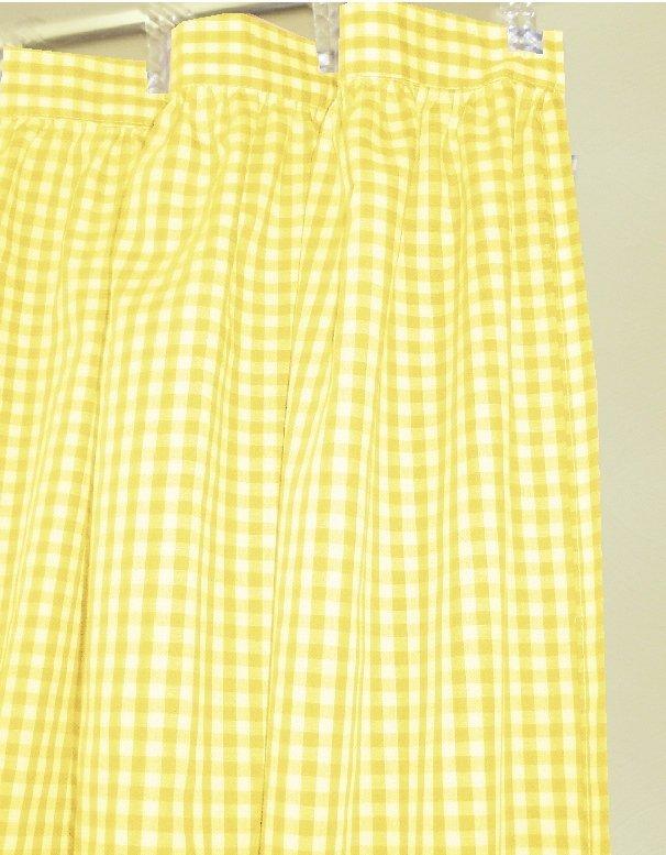 Yellow Gingham Check Shower Curtain