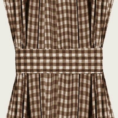 Brown Gingham French Door Curtain Panels available in