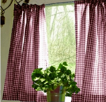 BurgundyWine Gingham KitchenCaf Curtain unlined or