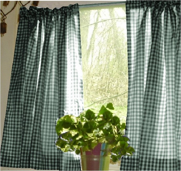 Hunter Green Gingham KitchenCaf Curtain unlined or with white or blackout lining in many