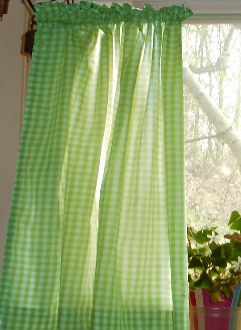 Lime Green Gingham KitchenCaf Curtain unlined or with