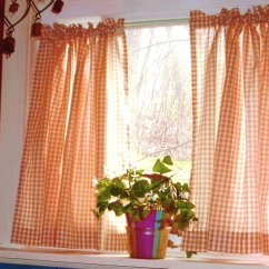 Cafe Curtains For Kitchen Farmhouse Faucets Orange Gingham Kitchen/café Curtain (unlined Or With White ...