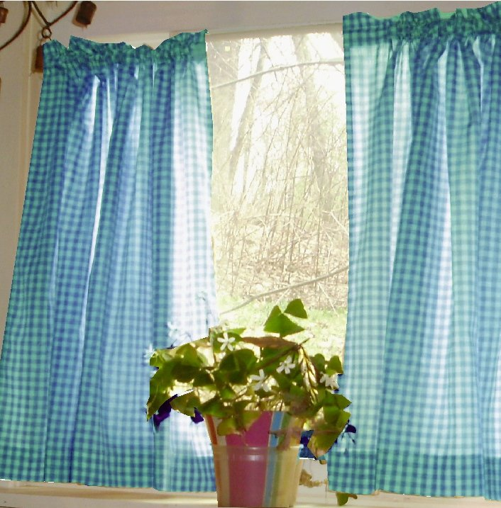 Turquoise Gingham KitchenCaf Curtain unlined or with
