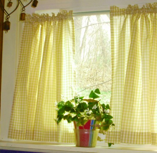 Home Curtains Yellow Gingham Kitchen Caf Curtain Unlined