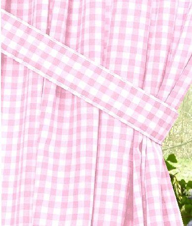 designer kitchen looking for used cabinets light pink gingham check window long curtain (available in ...