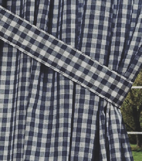 Navy Blue Gingham Check Window Long Curtain Available In Many Lengths And With Or Without White