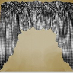 Kitchen Cafe Curtains Bar Island Black Scalloped Window Swag Valance With White Lining ...
