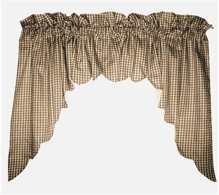kitchen swag curtains 3 piece table brown scalloped window valance with white lining ...