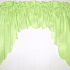 Cafe Curtains For Kitchen Ikea Chairs Lime Green Scalloped Window Swag Valance With White Lining ...