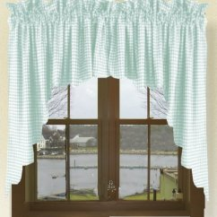 Kitchen Cafe Curtains Themes Decor Mint Green Scalloped Window Swag Valance With White Lining ...