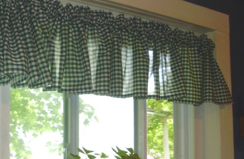 Hunter Green Gingham KitchenCaf Curtain unlined or with