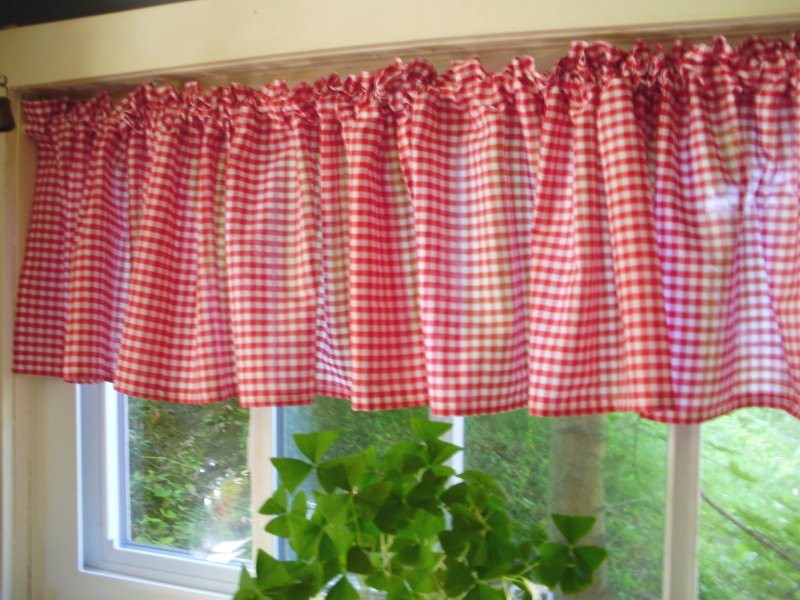 Red Gingham Kitchen Café Curtain Unlined Or With White Or