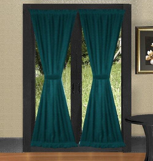 Solid Dark Teal Colored French Door Curtain available in