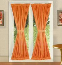 CHEAPEST PLACE TO BUY CURTAINS | SOLID ORANGE FRENCH DOOR ...