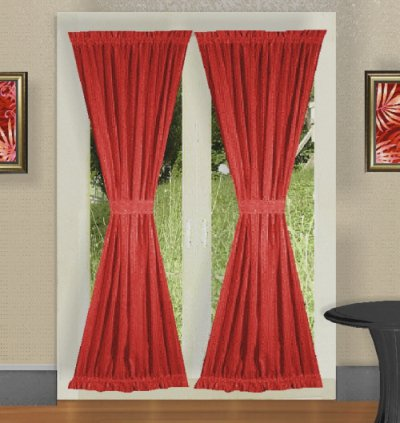 CURTAIN FOR WINDOW IN BEDROOM  SOLID RED COLORED FRENCH DOOR CURTAIN