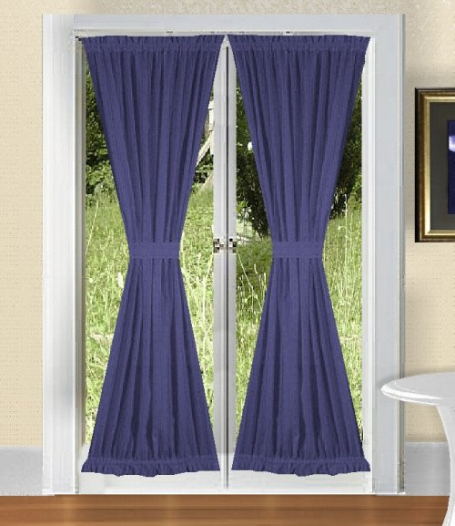 SOLID ROYAL BLUE COLOR CURTAINS FRENCH DOOR  BLUE MODERN