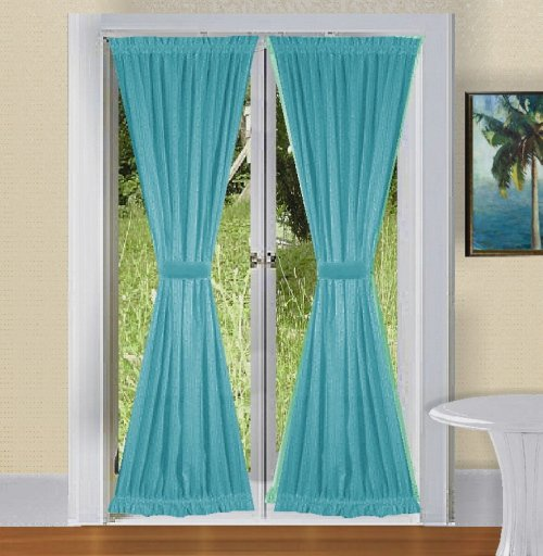 SOLID TURQUOISE COLORED FRENCH DOOR CURTAINS AT LOW PRICE IN US