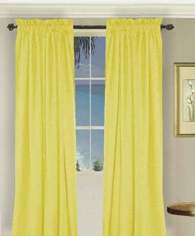Solid Bright Lemon Yellow Colored Window Long Curtain available in many lengths and 3 rod