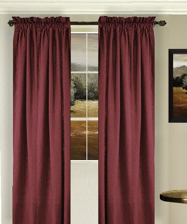 Burgundy Dark Wine Color Tier Kitchen Curtain Two Panel Set