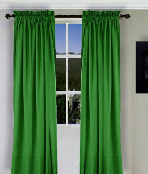 Solid Kelley Green Colored Window Long Curtain available