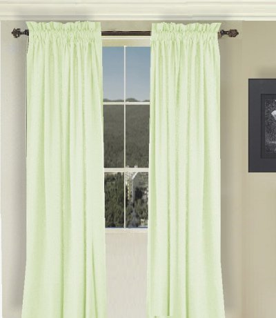 Solid Light Green Colored Window Long Curtain available in many lengths and 3 rod pocket sizes