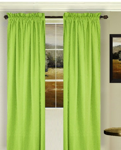 Solid Lime Green Colored Window Long Curtain Available In Many Lengths And 3 Rod Pocket Sizes