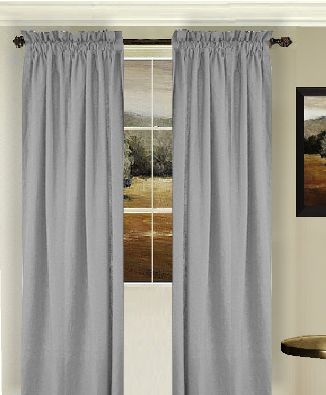 Solid Light Silver Gray Colored Window Long Curtain