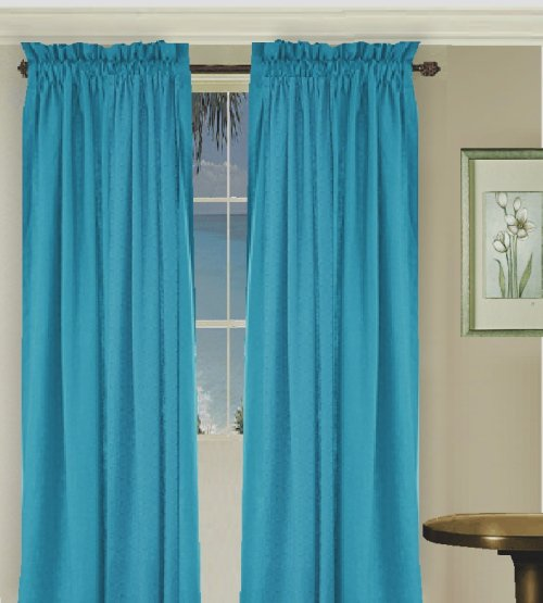 Solid Turquoise Colored Window Long Curtain available in