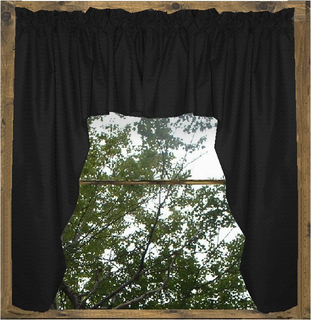 Solid Black Colored Swag Window Valance optional center