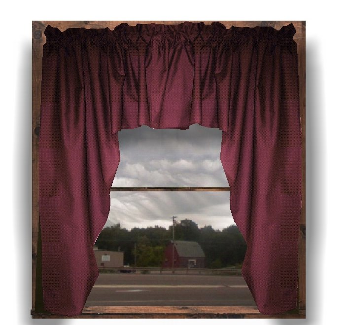 Solid Burgundy Dark Wine Colored Swag Window Valance