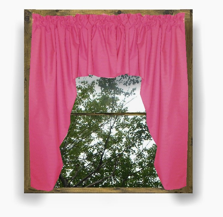 Solid Hot PinkFuchsia Colored Swag Window Valance optional center piece available