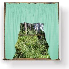 Swag Curtains For Kitchen Pics Of Islands Solid Mint Green Colored Window Valance (optional ...
