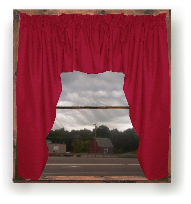 Solid Red Colored Swag Window Valance optional center