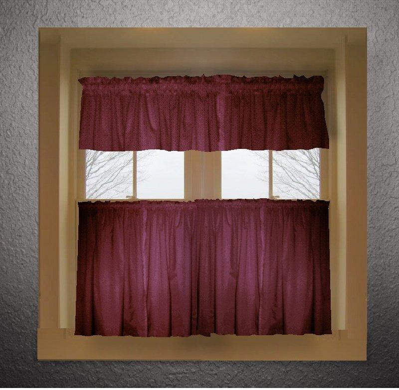 Burgundy dark wine color tier kitchen curtain two panel set