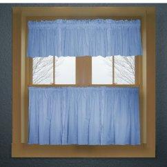 Blue Kitchen Valance Decor Themes Caribbean Color Tier Curtain Two Panel Set