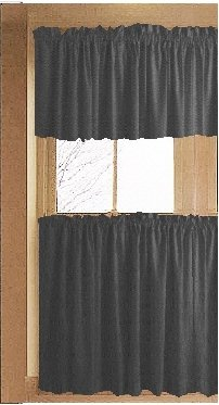 Solid Charcoal Gray Caf Style Tier Curtain Includes 2 Valances And 2 Kitchen Curtain Panels In