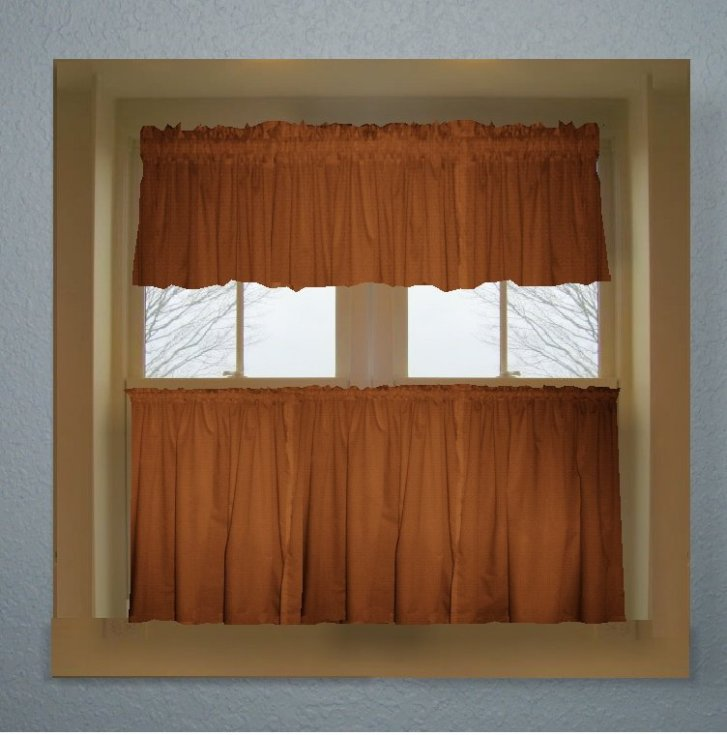 Home Curtains Solid Rust Colored Kitchen Curtain Only Valance