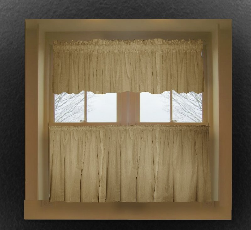 Taupe khaki color tier kitchen curtain two panel set